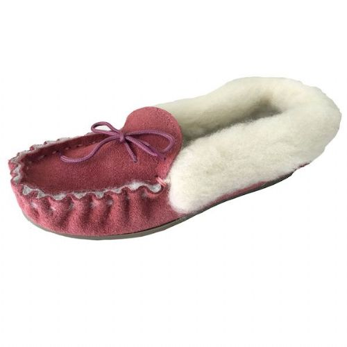 Moccasin Slippers Fur Lined Size 5 Pink Hard Sole